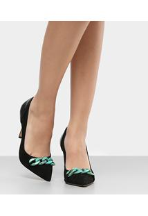 Scarpin Couro Shoestock Salto Alto Corrente Resina - Feminino-Preto