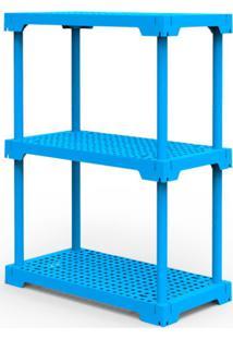 Estante Poly Com 3 Prateleiras Azul