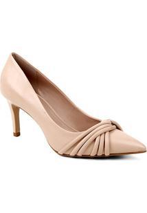 Scarpin Couro Shoestock Bico Fino Tiras Rolete Salto Médio - Feminino-Nude