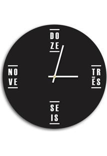 Relógio De Parede Decorativo Premium Preto Ônix Com Palavras Em Relevo Branco Médio
