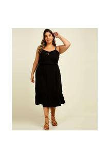 Vestido Plus Size Feminino Midi Alças Finas