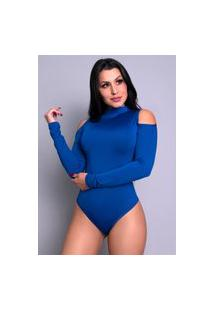 Body Mvb Modas Manga Longa Gola Alta Ombro Azul