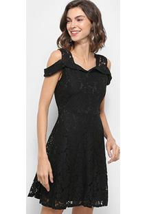 Vestido Curto Lily Fashion Rendado Open Shoulder - Feminino-Preto
