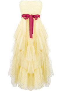 Redvalentino Vestido De Festa Com Paetês E Babados - Amarelo