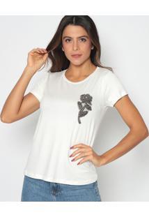 Blusa Com Bordados- Off White & Cinza Escuro- Cavalacavalari