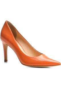 Scarpin Couro Shoestock Salto Alto Básico - Feminino-Laranja