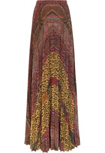 Etro Saia Longa Plissada Com Estampa Paisley - 150 Multicoloured