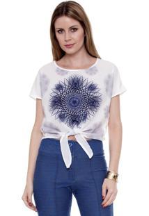 Blusa Bisô Mandala Azul Renda Off White