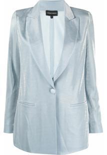 Emporio Armani Blazer Com Efeito Metalizado - Azul