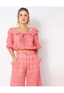 Blusa Elora Textura Bufante Feminina Rosa