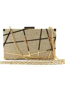 Bolsa Clutch Liage Brilho Fosca Alça Removível Dourado - Kanui