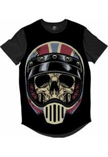 Camiseta Bsc Longline Caveira Capacete Motoqueiro 62 Sublimada Masculina - Masculino-Preto
