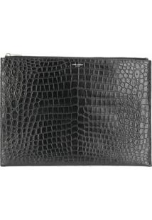 Saint Laurent Clutch Gravada Com Efeito De Crocodilo - Preto
