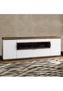 Rack Para Tv 2 Portas Allegra Branco/Canela Rústico - Colibri Móveis
