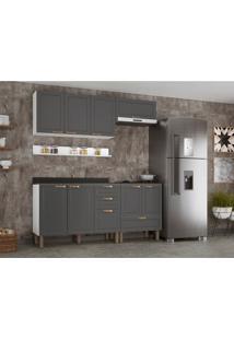 Cozinha Compacta Nevada Iv 8 Pt 4 Gv Grafite E Branca