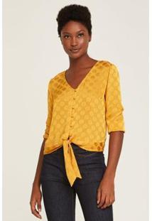 Blusa Poá Amarração Botões Feminina - Feminino-Amarelo
