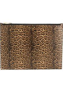 Saint Laurent Large Leopard Print Clutch - Marrom