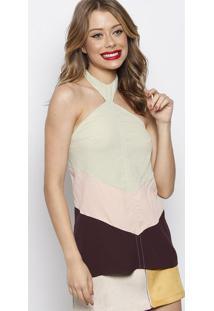 Blusa Frente ÚNica Com Recorte- Verde Claro & Rosa Claroforum