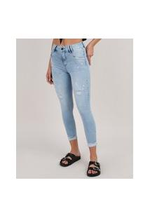 Calça Jeans Feminina Sawary Cropped Com Rasgos Cintura Alta Azul Claro