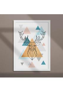 Quadro Decorativo Com Moldura Cervo Low Branco