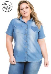 Camisete Jeans Plus Size - Confidencial Extra Vinil Azul Marinho