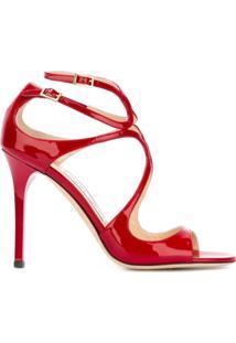 Jimmy Choo Sandália De Couro Envernizado Modelo 'Lang' - Vermelho