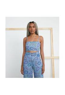 Blusa Cropped Em Jeans Com Estampa De Desenhos