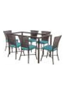 Jogo De Jantar 6 Cadeiras Turquia Pedra Ferro A38 E 1 Mesa Retangular Sem Tampo Ideal Para Área Externa Coberta