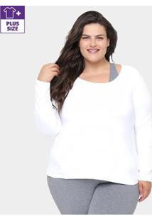 Camiseta Plus Size Gonew Manga Longa Feminina - Feminino-Branco