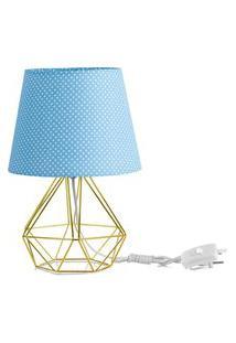 Abajur Diamante Dome Azul/Bolinha Com Aramado Dourado
