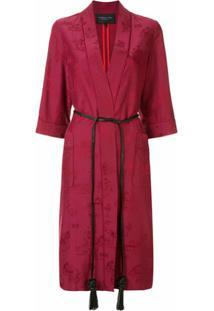 Shanghai Tang Robe Jacquard Chinoiseries De Cetim - Vermelho