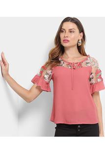 Blusa Mi Tule Bordada Amarração Feminina - Feminino-Vermelho