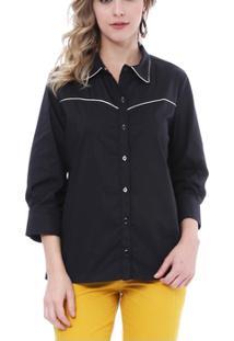 Camisa Moché C/Frizzo 3/4 - Feminino-Preto