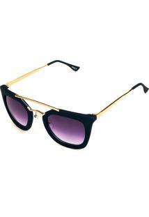 Óculos De Sol Titânia Preto Fosco Com Dourado