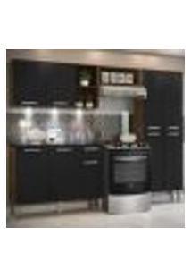 Cozinha Completa Compacta C/ 3 Leds, Armário E Balcão C/ Tampo 3 Pç Pequim Multimóveis Madeirado/Pto
