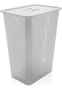 Cesto De Roupa De Plástico Ou Branco 47L - 23243