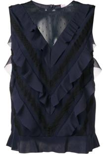 Red Valentino Sleeveless Ruffled Blouse - Azul