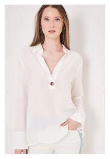 Camisa Seda Polo Ilhos 3 Off White