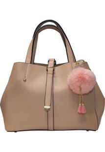 Bolsa Clutch Me Shopper Pompom Rose