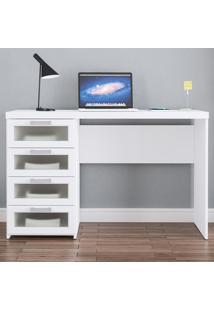Mesa Para Computador Malta 4 Gavetas Branco Bp - Politorno