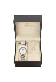Kit Relógio Analógico Feminino Social Champion Ch26917D