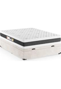 Cama Box Casal Premium Com Baú Suede Bege Com Colchão Black White D45 Branco