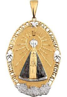 Pingente Nossa Senhora Aparecida Em Ouro 18K Oval - Unissex-Ouro