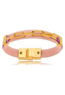 Pulseira Elos Rosê Color Gazin Banhado A Ouro 18K - Unico - Ouro Dourado