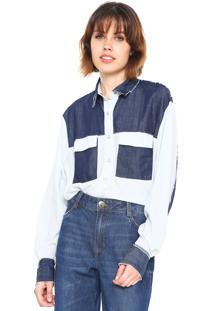 Camisa Jeans Forum Reta Recortes Azul