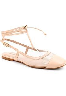 Sapatilha Couro Shoestock Bico Quadrado Tela Feminina