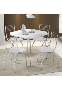 Mesa 1504 Branca Cromada Com 4 Cadeiras 146 Branca Carraro
