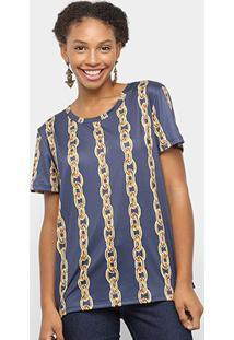 Camiseta Lança Perfume Estampada Feminina - Feminino-Dourado+Azul