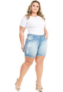 f4687bf053cdf7 Zattini Shorts Confidencial Extra Plus Size Jeans Com Elastano Feminino -  Feminino-Azul Claro