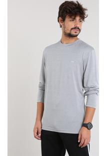 Camiseta Masculina Esportiva Ace Básica Manga Longa Gola Careca Cinza Mescla Claro